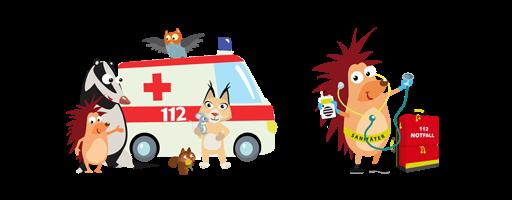 Pflasterpass Krankenwagen und Igel Illustration